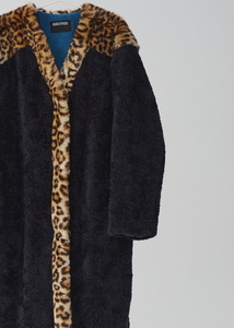 LEOPARD MIX FAUX FUR COAT