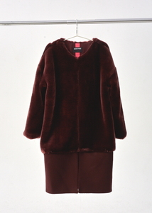[40% SALE]BURGUNDY FAUX FUR COAT